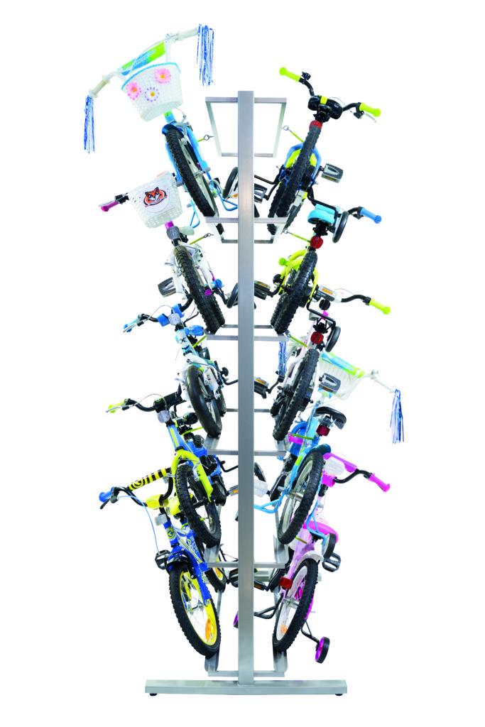 ekspozytor polkowy na 10 rowerow dzieciecych z kolkami bocznymi
